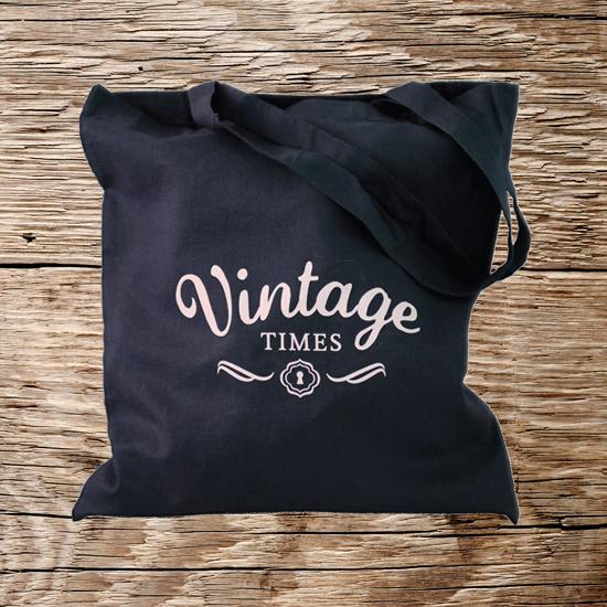 Vintage Times Stofftasche dunkelblau